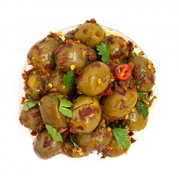 FAY'S HOT CHILLI OLIVES
