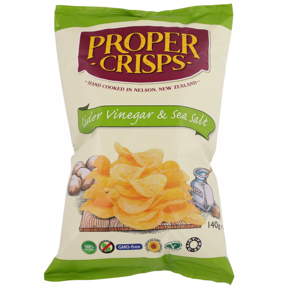 Proper Crisps PROPER CRISPS CIDER VINEGAR & SEA SALT CHIPS 140G