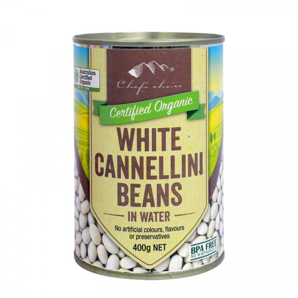 CHEF'S CHOICE ORGANIC CANNELLINI BEANS 400G 09339337002991.