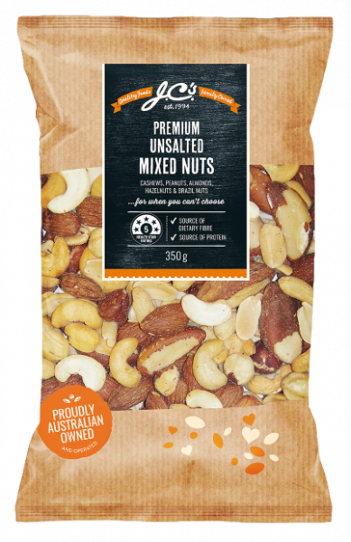 JC\'S Quality Foods JC'S PREMIUM MIXED NUTS UNSALTED 350G