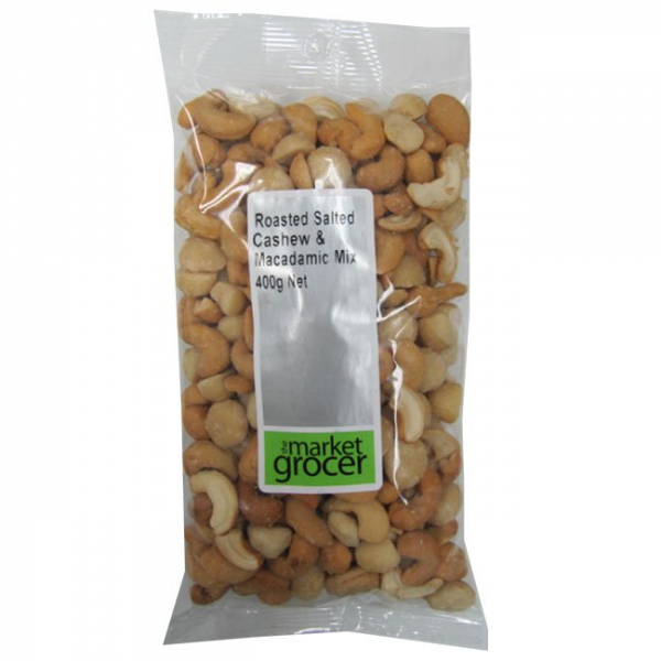 The Market Grocer THE MARKET GROCER ROASTED SALTED CASHEW & MACADAMIA MIX 400G