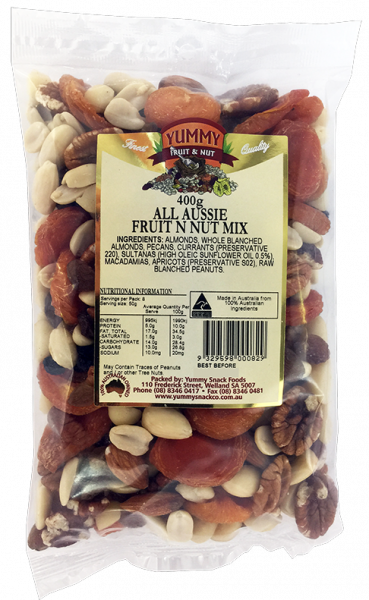 Yummy Snack Foods YUMMY SNACK FOODS ALL AUSSIE FRUIT AND NUT MIX 400G