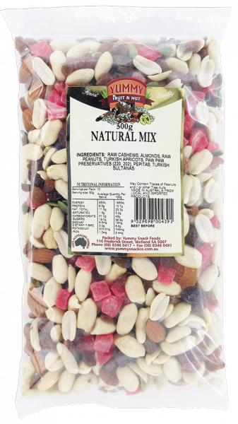 YUMMY SNACK FOODS NATURAL MIX 500G 09329598004391.