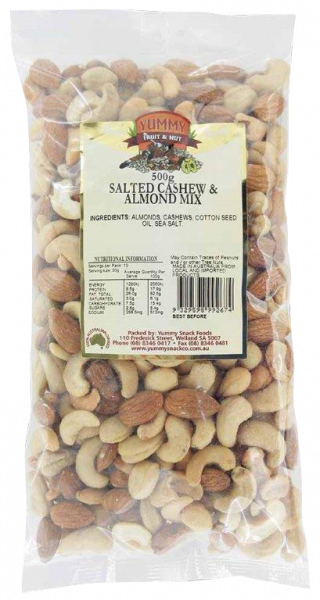 Yummy Snack Foods YUMMY SNACK FOODS SALTED CASHEW AND ALMOND MIX 500G