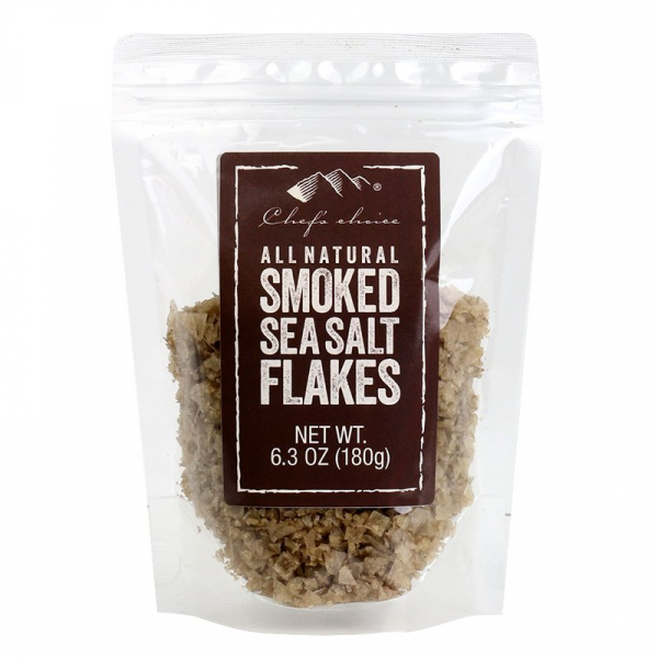 CHEF'S CHOICE SMOKED SEA SALT FLAKES 180G 09339337301155.