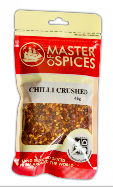 MASTER OF SPICES CRUSHED CHILLI 46G 09335886003106.