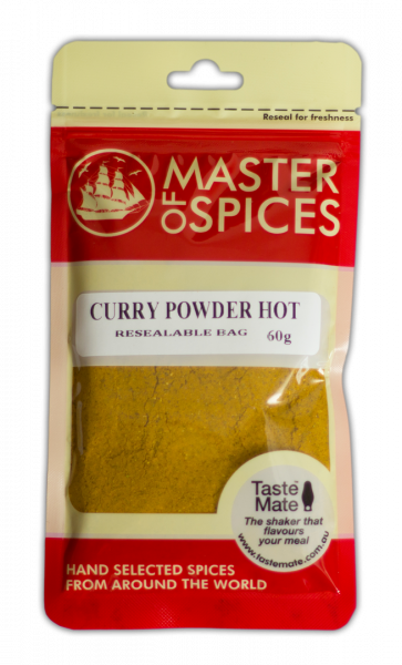 MASTER OF SPICES CURRY POWDER HOT 60G 09335886003236.