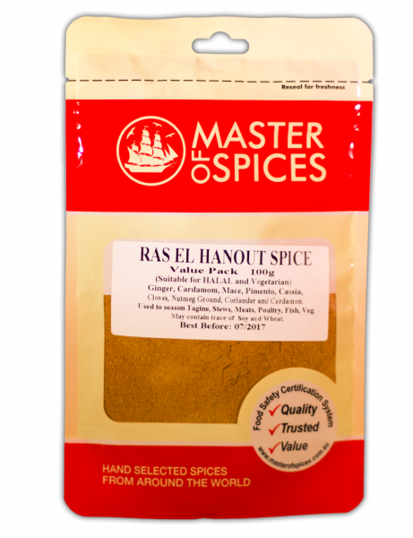 MASTER OF SPICES RAS EL HANOUT SPICE VALUE PACK 100G 09335886006060.