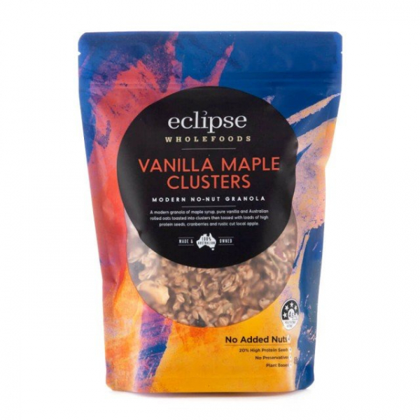 ECLIPSE WHOLEFOODS VANILLA MAPLE CLUSTERS 450G 09344338004189.