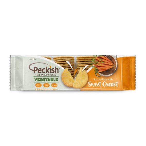 Peckish PECKISH VEGETABLE SWEET CARROT RICE CRACKERS 100G