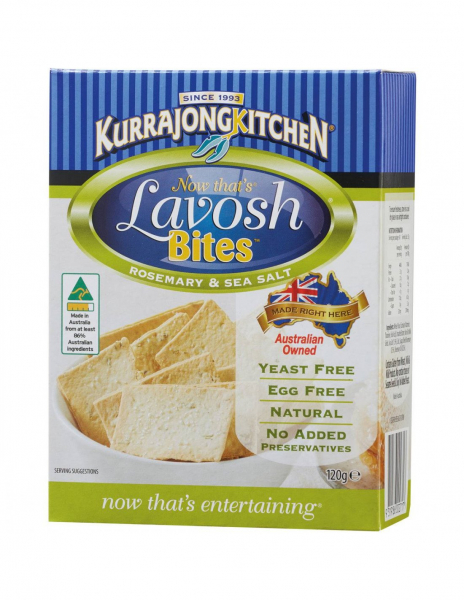 Kurrajong Kitchen KURRAJONG KITCHEN LAVOSH BITES ROSEMARY & SEA SALT 120G