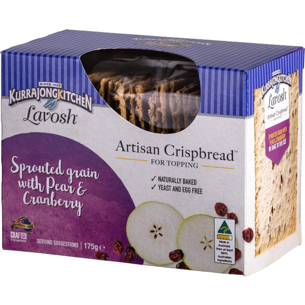Kurrajong Kitchen KURRAJONG KITCHEN ARTISAN CRISPBREAD SPROUTED GRAIN WITH PEAR & CRANBERRY 175G