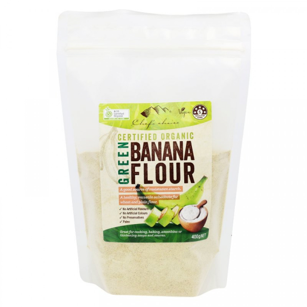CHEF'S CHOICE ORGANIC GREEN BANANA FLOUR 400G 09339337302886.