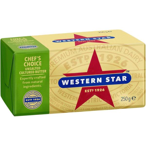 WESTERN STAR BUTTER UNSALTED 250G